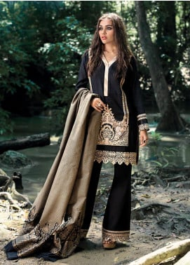 Zainab Chottani Embroidered Woven Unstitched 3 Piece Suit ZC19WW 01 Raven Beaute - Winter Collection