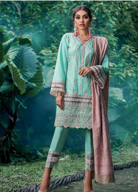 Zainab Chottani Embroidered Karandi Unstitched 3 Piece Suit ZC19WW 02 Misty Frost - Winter Collection