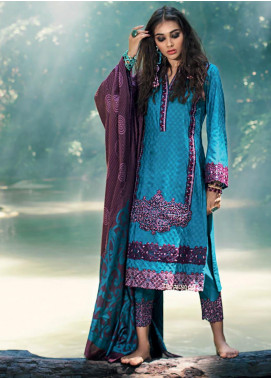Zainab Chottani Embroidered Woven Unstitched 3 Piece Suit ZC19WW 03 Imperial Mist - Winter Collection