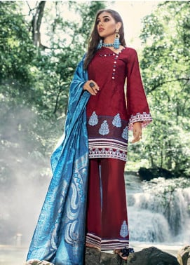 Zainab Chottani Embroidered Woven Unstitched 3 Piece Suit ZC19WW 05 Scarlet Splendour - Winter Collection