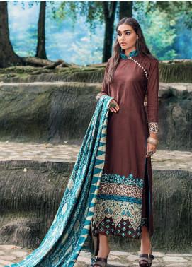 Zainab Chottani Embroidered Jacquard Unstitched 3 Piece Suit ZC19WW 07 Vivid Auburn - Winter Collection
