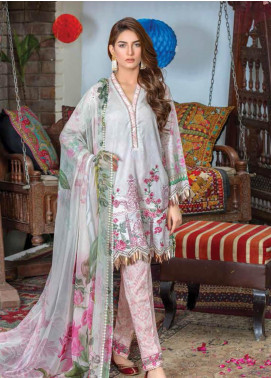 Zara Ali by Magns Textiles Embroidered Lawn Unstitched 3 Piece Suit ZRA19F 1B - Festive Collection
