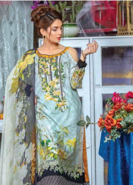 Zara Ali by Magns Textiles Embroidered Lawn Unstitched 3 Piece Suit ZRA19F 2B - Festive Collection