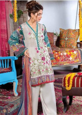 Zara Ali by Magns Textiles Embroidered Lawn Unstitched 3 Piece Suit ZRA19F 8A - Festive Collection