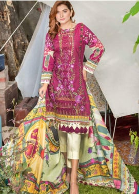 Zara Ali by Magns Textiles Embroidered Lawn Unstitched 3 Piece Suit ZRA20F 9A - Summer Collection