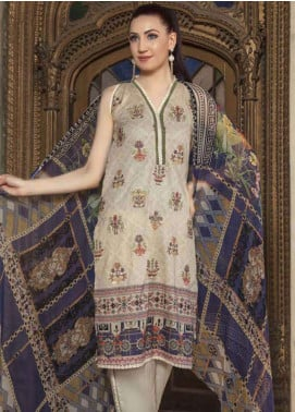 Zara Ali by Magns Textiles Embroidered Lawn Unstitched 3 Piece Suit ZRA19SL 2B - Spring / Summer Collection