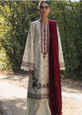 Zara Shahjahan Embroidered Cotton Satin Unstitched 3 Piece Suit ZSJ20W 08 Nissa - Winter Collection