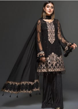 Zarif Embroidered Chiffon Unstitched 3 Piece Suit ZF20C 01 - Luxury Collection