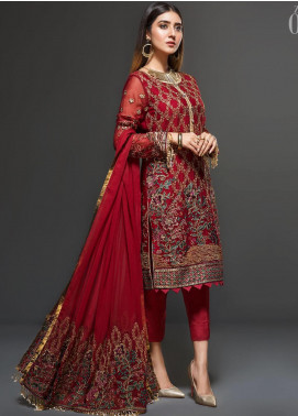 Zarif Embroidered Chiffon Unstitched 3 Piece Suit ZF20C 02 - Luxury Collection