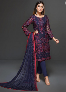 Zarif Embroidered Chiffon Unstitched 3 Piece Suit ZF20C 04 - Luxury Collection