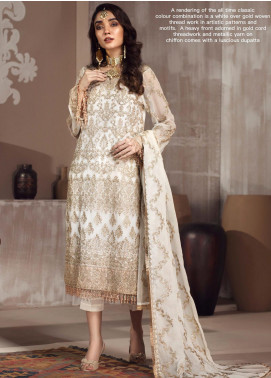 Zarif Embroidered Chiffon Unstitched 3 Piece Suit ZF20MG 03 NUREH - Luxury Collection