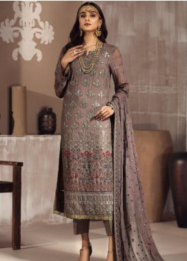 Zarif Embroidered Chiffon Unstitched 3 Piece Suit ZF20MG 11 NAQSH - Luxury Collection