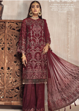 Zarif Embroidered Chiffon Unstitched 3 Piece Suit ZF20MG 12 GHULAB - Luxury Collection