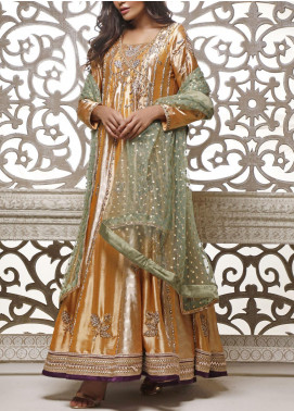 Fayon Embroidered Tissue Silk Stitched 3 Piece Suit FN-Z142 Abir