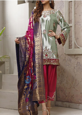 Fayon Embroidered Tissue Net Stitched 3 Piece Suit FN-Z144 Peafowl