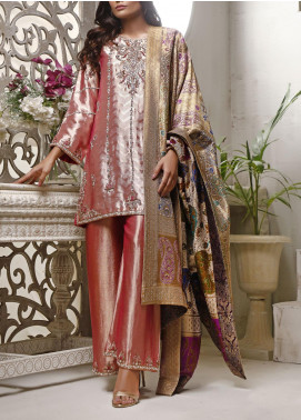 Fayon Embroidered Tissue Net Stitched 3 Piece Suit FN-Z145 Flamingo