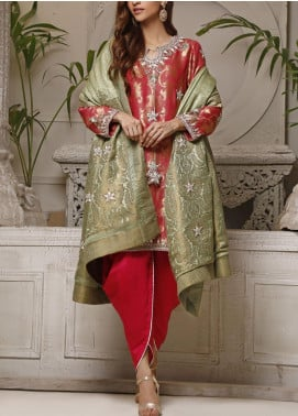 Fayon Embroidered Jamawar Stitched 3 Piece Suit FN-Z149 Marigold