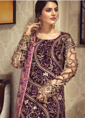 Zebtan Embroidered Chiffon Unstitched 3 Piece Suit ZBT19-C5 04 - Luxury Collection