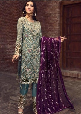 Zebtan Embroidered Chiffon Unstitched 3 Piece Suit ZBT19-C6 04 - Luxury Collection