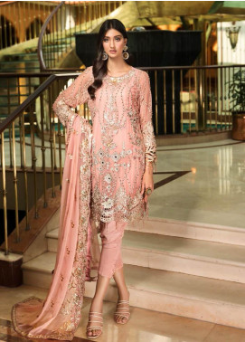 Zebtan Embroidered Chiffon Unstitched 3 Piece Suit Z20ZBT 01 - Luxury Collection
