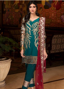 Zebtan Embroidered Chiffon Unstitched 3 Piece Suit Z20ZBT 03 - Luxury Collection