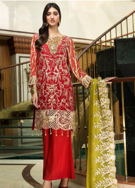 Zebtan Embroidered Chiffon Unstitched 3 Piece Suit Z20ZBT 04 - Luxury Collection