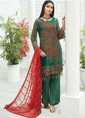 Zebtan Embroidered Chiffon Unstitched 3 Piece Suit ZBT20Z-02 - Luxury Collection