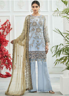 Zebtan Embroidered Chiffon Unstitched 3 Piece Suit ZBT20Z-03 - Luxury Collection