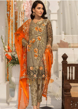 Zebtan Embroidered Chiffon Unstitched 3 Piece Suit ZBT19-Z3 04 - Luxury Collection