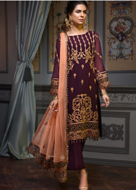 Zeenat by Mohagni Embroidered Chiffon Unstitched 3 Piece Suit ZMO19C D-03 - Luxury Collection