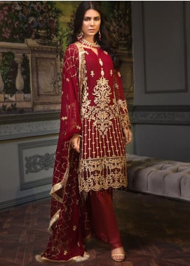 Zeenat by Mohagni Embroidered Chiffon Unstitched 3 Piece Suit ZMO19C D-08 - Luxury Collection