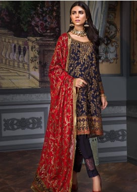 Zeenat by Mohagni Embroidered Chiffon Unstitched 3 Piece Suit ZMO19C D-09 - Luxury Collection