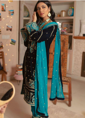 Zellbury Embroidered Velvet Unstitched 3 Piece Suit ZB20LW 450 - Winter Collection