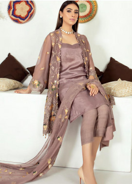 Zirwa by Febura Embroidered Chiffon Unstitched 3 Piece Suit FB20Z 01 - Luxury Collection