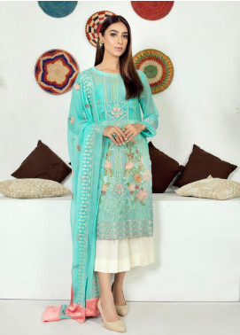 Zirwa by Febura Embroidered Chiffon Unstitched 3 Piece Suit FB20Z 02 - Luxury Collection