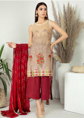 Zirwa by Febura Embroidered Chiffon Unstitched 3 Piece Suit FB20Z 03 - Luxury Collection