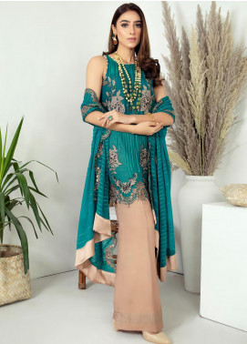 Zirwa by Febura Embroidered Chiffon Unstitched 3 Piece Suit FB20Z 04 - Luxury Collection