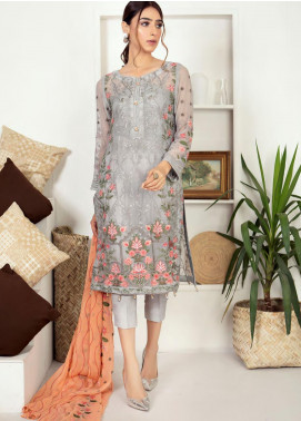 Zirwa by Febura Embroidered Chiffon Unstitched 3 Piece Suit FB20Z 08 - Luxury Collection