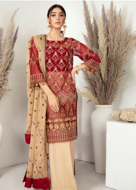 Zirwa by Febura Embroidered Chiffon Unstitched 3 Piece Suit FB20Z 10 - Luxury Collection