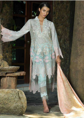 Zunuj Embroidered Cotton Net Unstitched 3 Piece Suit ZJ18F 03 - Eid Collection