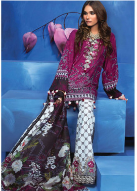 Zaha by Khadijah Shah Embroidered Lawn Unstitched 3 Piece Suit ZKS18L 13B - Summer Collection