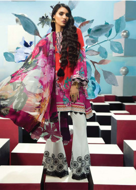 Zaha by Khadijah Shah Embroidered Lawn Unstitched 3 Piece Suit ZKS18L 16B - Summer Collection