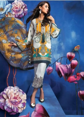 Zaha by Khadijah Shah Embroidered Lawn Unstitched 3 Piece Suit ZKS18L 17B - Summer Collection