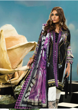 Zaha by Khadijah Shah Embroidered Lawn Unstitched 3 Piece Suit ZKS18L 21A - Summer Collection