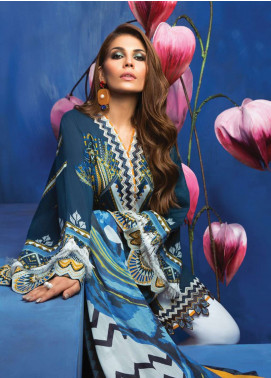 Zaha by Khadijah Shah Embroidered Lawn Unstitched 3 Piece Suit ZKS18L 21B - Summer Collection