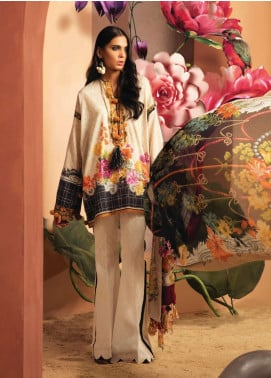 Zaha by Khadijah Shah Embroidered Lawn Unstitched 3 Piece Suit ZKS18L 23A - Summer Collection