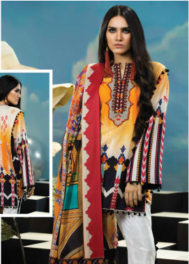 Zaha by Khadijah Shah Embroidered Lawn Unstitched 3 Piece Suit ZKS18L 25A - Summer Collection