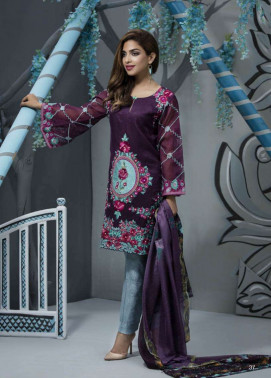 Veena Durrani Embroidered Lawn Unstitched 2 Piece Suit ZO17T4 09