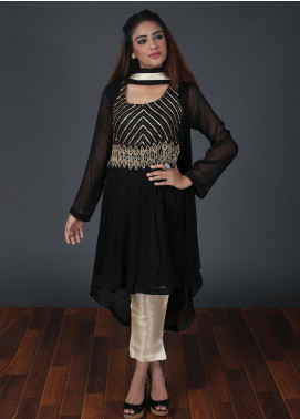 Zoonaj Embroidered Chiffon Stitched 3 Piece Suit Black ZF 181