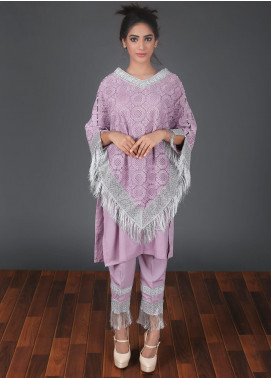 Zoonaj Embroidered Chiffon Stitched 3 Piece Suit Voilet ZF 157